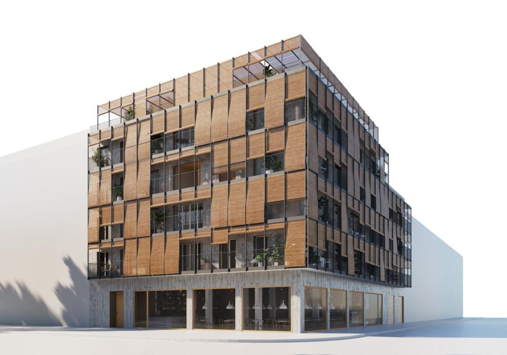 A80 – Fassade eines Holzhauses auf Mallorca